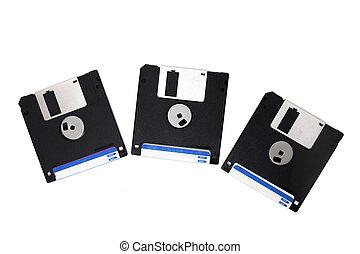 three floppy disks
