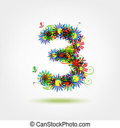 Three, floral number for your design