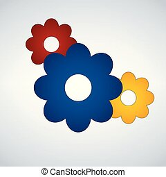 Three Flowers Icon. Spring symbol for your web site design, logo, app, UI. Vector illustration isolated on modern background.
