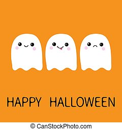 Three flying ghost spirit sad, smiling, showing tongue. Boo. Happy Halloween. Scary white ghosts. Cute cartoon spooky character. Smiling face, cheeks. Orange background Greeting card. Flat design.