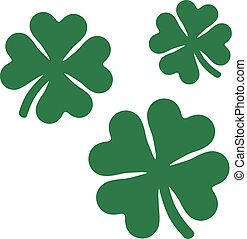 Three flying shamrocks with four leaves