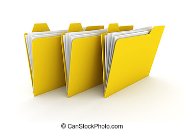 Three Folders - 3D rendered Illustration. Isolated on white.
