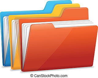 Three folders with paper - File folders icon isolated on ...