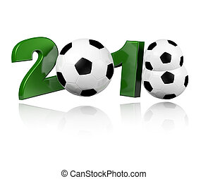 Three Football balls 2018 Design with a white Background