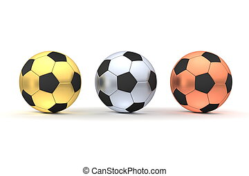 Three Footballs in a Row - Gold, Silver, Bronze - three...