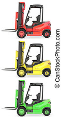 Three fork lift trucks colored as traffic lights, isolated...