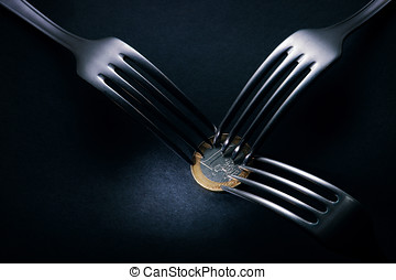 Three forks fighting over one euro coin , financial crisis...