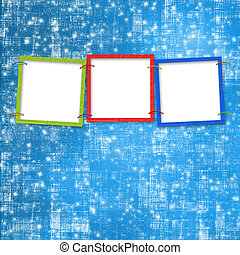 Three frames for photos on the bright background
