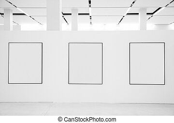 Three frames in showroom