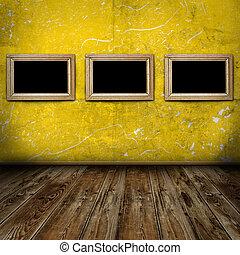 three frames in vintage room