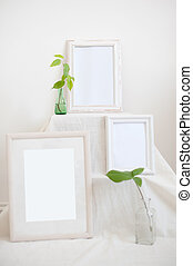 Three frames on a white background
