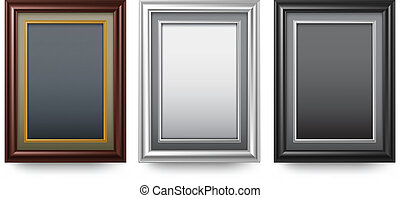 Three old antique frame on white background, vector illustration