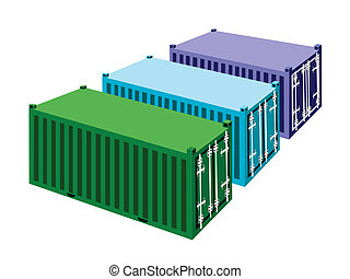 Three Freight Containers on A White Background - Green,...