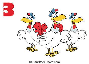 Three French Hen Chickens