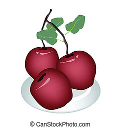 Three Fresh Apple on A White Plate