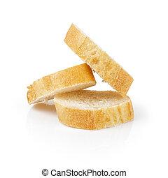 three fresh baked baguette slices