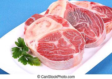 Three fresh beef shanks