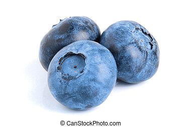 three fresh blueberry isolated on white background