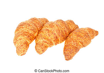 Three fresh croissant with cheese