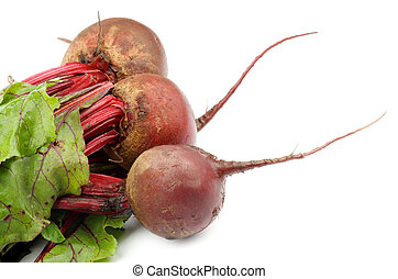 Beetroot - Three Fresh Raw Beetroots with Leafy Tops...