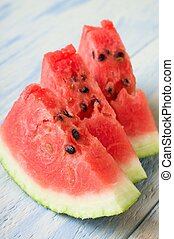 Three fresh slices of red melon