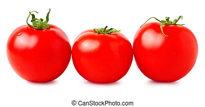 three fresh tomatoes with green leaves isolated on white background