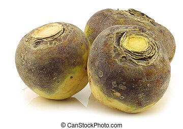 three fresh turnips