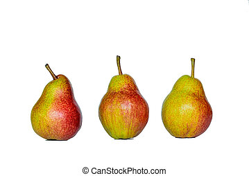 Three fresh yellow red pears, isolated on white background.