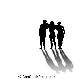 Black and white silhouette of three friends with arms around each other