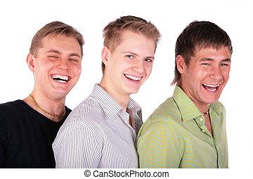 Three friends laughs