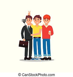 Three friends making photo using smartphone and selfie stick. Cartoon people characters with happy face expressions. Flat vector design
