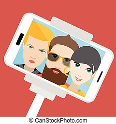 Three friends making summer selfie photo. Vector cartoon illustration.