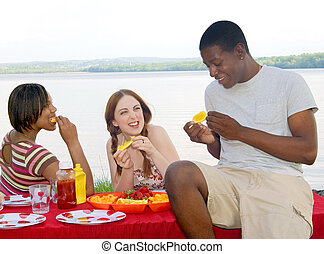 three friends picnic - three young twenties mixed race ...