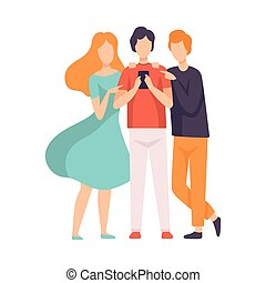 Three Friends Talking to Each Other Looking at Smartphone Vector Illustration