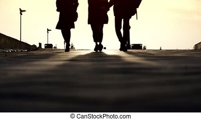 Three friends walking down the street on sunset