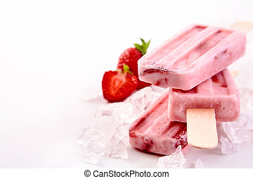 Three frozen popsicles with strawberry ingredients - Three ...