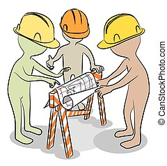 Three funny characters discuss the construction plan. Vector Illustration