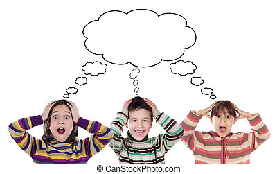 Three funny children surprised on a white background