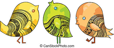 Three Funny Chirping Birds on white background