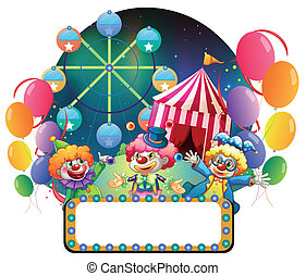 Three funny clowns in a carnival - Illustration of the three...