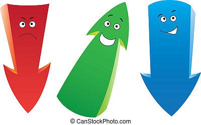 Three funny emotion arrows - Set of the cartoon emotion ...