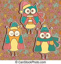 Three funny owl on a dark backgroun