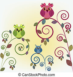 Three funny owl on the branches