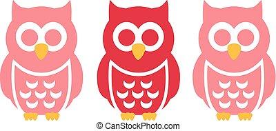 Three funny Owls