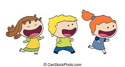 Three funny running children
