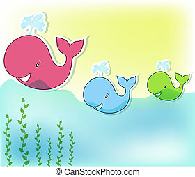 Three funny whale in the sea