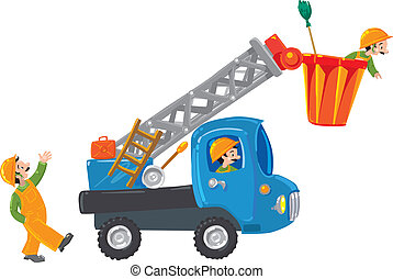 Three funny workers and machine-lift - Three funny workers (...