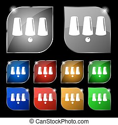 Three game thimbles with a ball, games 3 cups icon sign. Set of ten colorful buttons with glare. Vector