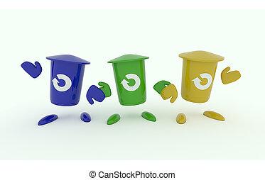 Three garbage bin on white