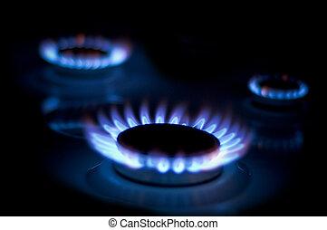 Gas-ring - Three Gas-ring. night light. gassing, blue